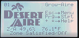 GrowAire control panel display