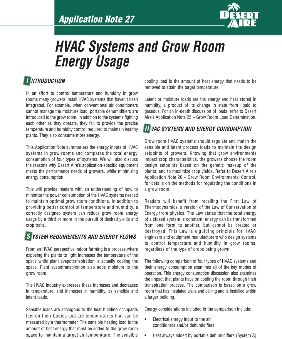 HVAC Systems and Grow Room Energy Usage